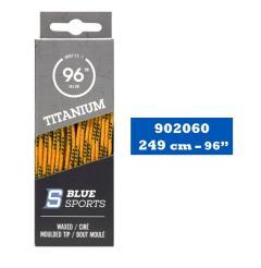Hokejové tkaničky Blue Sports Titanium Pro Laces Waxed Yellow/Black