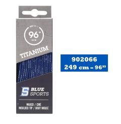 Hokejové tkaničky Blue Sports Titanium Pro Laces Waxed Royal/White