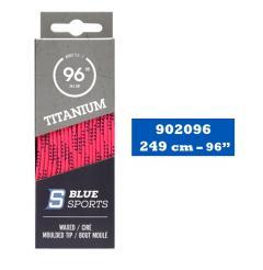 Hokejové tkaničky Blue Sports Titanium Pro Laces Waxed Neon Pink/Black