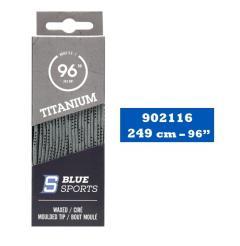 Hokejové tkaničky Blue Sports Titanium Pro Laces Waxed Silver/Black