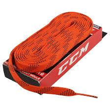 Hokejové voskované tkaničky CCM Hockey Laces Waxed oranžové